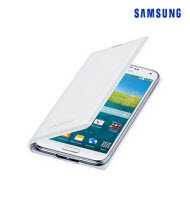 Samsung Galaxy S5 White Flip Wallet Cover
