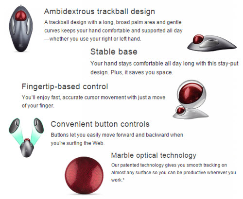 Image result for ambidextrous trackball design Stable base Convenient button controls Fingertip-based control Marble optical technology