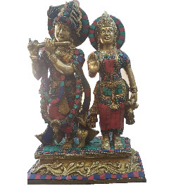 Lord Radha Krishna 12 Inch Handmade Brass Idol Decor Statue