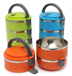 Stylish 3 Layer Double Wall Stainless Steel Lunch Box
